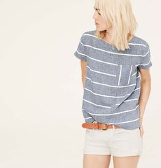 9edeb66a700f0 Lou & Grey Chambray Stripe Tee - Introducing a new line of easy, texture