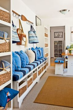 "Keep contaminants out of the home by designing a ""mud room"" that encourages occupants and guests to take off their shoes. If you take off your shoes, you don't track pesticides (and other toxins that are commonly found outdoors) into the house. Coastal Cottage, Coastal Homes, Coastal Living, Coastal Decor, Coastal Colors, Coastal Interior, Estilo Navy, Dream Beach Houses, Beach House Decor"