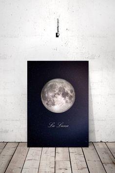 Moon Poster Full Moon Print La Luna Print La Lune by PrintsProject