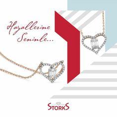 Kalbinizdeki Işıltıyı Bırakın Storks ile Herkes Görsün Pırlanta Baget Kalpli Kolye: 0.21ct G/SI 🌐emekmucevher.com | ☎03122196060