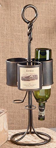 Wine Racks - VINTAGE 3 BOTTLE TABLETOP WINE BOTTLE HOLDER RACK  IRON METAL  RUSTIC *** Check out this great product.
