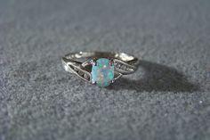 Vintage Sterling Silver Oval Opal 6 Diamond Fancy Bypass Ring