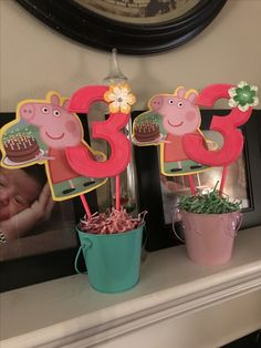 Peppa Pig decor for 3rd Birthday Party!