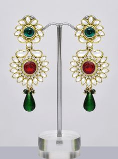 Indian wedding Chandelier Earrings, Red Green Kundan Crystal Long ...