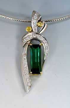 Green #tourmaline with white and yellow diamonds in white gold by Alex Gulko