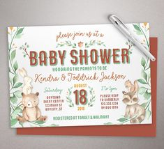 230 best baby shower invitations images on pinterest baby shower whimsy woodland invitation woodland creatures baby shower printable invitation printed invite set filmwisefo