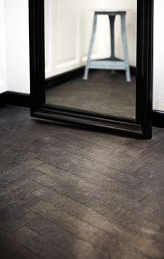 Junckers Black Oak (Smoked) Herringbone with Black Oil Stain | Silverwood Flooring | Toronto Perfect Oak Herringbone / Eiken Visgraat parket +/- $250 per square meter.