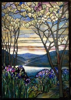 Designed by Louis Comfort Tiffany (American, 1848–1933). Magnolias and Irises, ca. 1908. Tiffany Studios (1902–32). American. The Metropolitan Museum of Art, New York. Anonymous Gift, in memory of Mr. and Mrs. A. B. Frank, 1981 (1981.159) #iris #flower