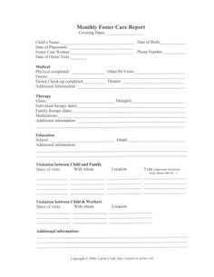Foster Care Record Keeping with Printable Worksheets: Monthly Foster Care Report