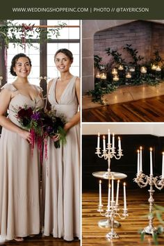 These bridesmaids are wearing stunning gowns that compliment this victorian-style wedding. This wedding was all things victorian glam with candlesticks and all! The rich greenery only adds to the elegancy of the venue. The bride (not pictured) is wearing a stunning gown from the Wedding Shoppe. Check out all of our elegant, chic, and victorian-inspired wedding dresses with the Wedding Shoppe, today! #elegantweddings | #bridesmaiddressinspo | #victorianweddinginspiration Wedding Bridesmaid Dresses, Wedding Dress Styles, Dream Wedding Dresses, Designer Wedding Dresses, Wedding Colors, Bridesmaids, Gorgeous Wedding Dress, Elegant Wedding, Wedding Shoppe