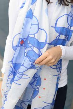 Watercolor sheer scarf, Tuli Designs