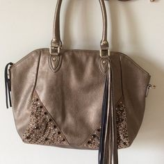 """❤️COME & GET IT.  CLOSET CLOSING 12/31❤️ Beautiful LaTique sample handbag.   Embellished with beads and studs, nice leather tassel.  Zipper pocket on back, zipper pocket inside with pouches.  18"""" wid, 12"""" tall, 5"""" bottom panel, 8"""" strap drop.   Missing crossbody strap.  051315 LaTique Bags Shoulder Bags"""