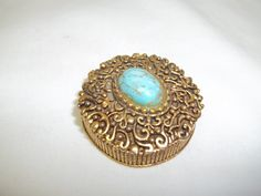 Vintage Gold Tone and Turquoise Pill Box