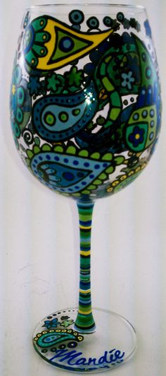 Hand Painted Wine Glass on Etsy!