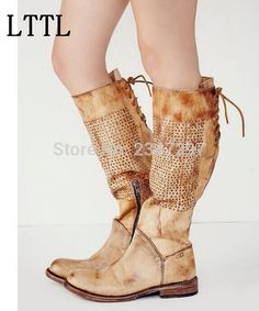 de760d0bcd0 England style round toe knee-high women boots popular breathable lace-up  apricot leather boots fashion flat women boots