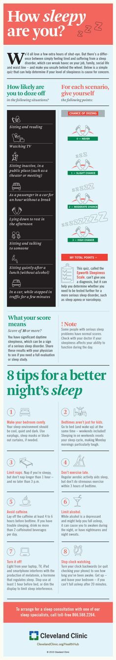 8 tips for a better night's sleep infographic Cleveland Clinic HealthHub