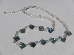 Abalone and Moonstone Chip Necklace by StoneJewelsByAng on Etsy