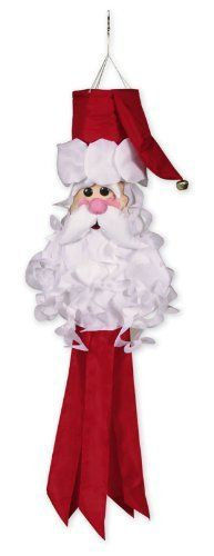 """Santa Claus Classics Christmas Outdoor Windsock 40"""" by Evergreen. Save 17 Off!. $33.00. From the Santa Claus Classics CollectionItem #40008Boost your Christmas spirit this year with this Santa Claus windsockWindsock features a whimsical Santa face with ruffly beard and a jingle bell on the end of his hatSanta's body is red streamersDimensions: 40""""H x 12""""W x 12""""DMaterial(s): polyester"""