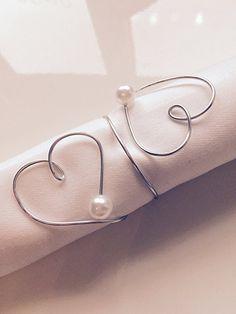 6 Stück Handgemachte Serviettenringe aus Draht mit Herz, perfekt für Hochzeit, Taufe, Geburtstag