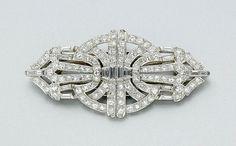 Diamond Double Clip Brooch  - Platinum, white gold - c. 1930