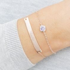 Rose Gold Birthstone And Bar Personalised Bracelet Set - Home & Country Maple Leaf Gold, Personalized Bracelets, Birthstone Jewelry, Bracelet Sizes, Birthstones, Jewelry Collection, Swarovski Crystals, Amethyst, Rose Gold