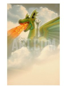 Fire-Breathing Dragon in Clouds Giclee Print by Carol & Mike Werner at Art.com