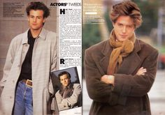 Rupert Graves and Hugh Grant, in a tweed and cashmere fashion shoot, British Vogue, November 1987.  Photography by Eamonn J McCabe and Johnny Rozsa.
