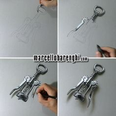 Hyperrealistic drawing of a wing corkscrew - 4 drawing stages by Marcello Barenghi.