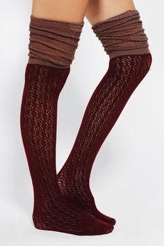 Pointelle Scrunch Over-The-Knee Sock