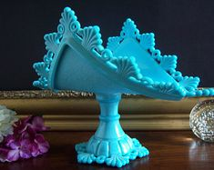Westmoreland Turquoise Blue Ring and Petal Milk Glass Banana Boat - Westmoreland Turquoise Blue Milk Glass - Something Blue - Milk Glass