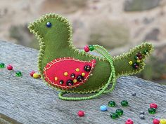 Felt Christmas Decorations Green Red Embroidered Bird by byLaila