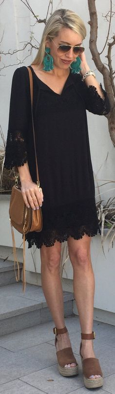Black Dress / Brown Leather Shoulder Bag / Brown Suede PlatformWOMEN'S SANCTUARY LACE TRIM SHIFT DRESS Black  Trending Summer Spring Fashion Outfit to Try This 2017 Great for Wedding,casual,Flowy,Black,Maxi,Idea,Party,Cocktail,Hippe,Fashion,Elegant,Chic,Bohemian,Hippie,Gypsy,Floral