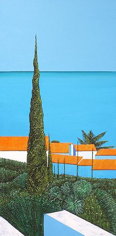 Ronnie Ford: Hilltop Village, Provence 2, 2016, Mixed Medium on Canvas, 100 x 50cm. Represented by Ode To Art. Ronnie Ford invites his viewers on a journey to the French region of Provence through his latest paintings. Deceptively simplistic looking, the usage of vibrant colours captures ones' attention while the different textures of the greenery gives depth and dimension to the painting, resulting in a piece that is equal parts eye-catching and mesmerising.