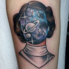 "A starry Princess Leia. | 28 ""Star Wars"" Tattoos That Will Awaken The Force In You"