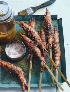 Smoky barbecued prawns.