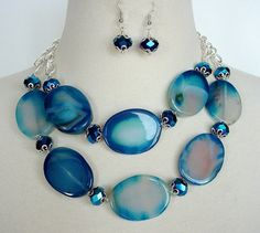 Blue Statement Necklace Large Chunky Agate Beads by laiseoriginals