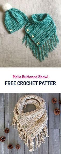 Malia Buttoned Shawl Free Crochet Pattern #crochet #yarn #style #fashion #crafts