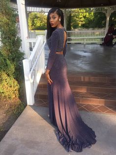 New Arrival Long Sleeve Prom Dress,Long Evening Formal Dress,2 Piece Prom Dress,Split Prom Dresses