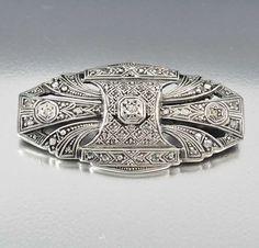 Sterling Silver Art Deco Diamond Brooch – Boylerpf. Vintage fine jewelry. For more followwww.pinterest.com/ninayayand stay positively #inspired