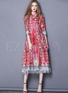 7ede729f45ac Shop for high quality Ethnic Stand Collar Print Vintage Maxi Dress online  at cheap prices and