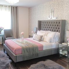 Gray and pink bedroom | Laura Aguillon