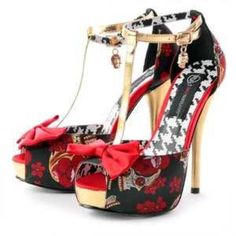 iron fist death dance platform Show your sexy gothic style in awesome Iron fist red and gold platform heel with a cute red bow show comes with box and shoe bags iron fist Shoes Platforms