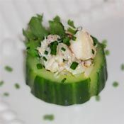 Crab and Cucumber Canapes with Lemon and Chives Recipe