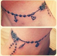 Blue rosary tattoo on foot, stock photo gallery software
