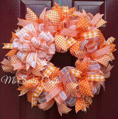 University of Tennessee Volunteers Orange and White Deco Mesh Wreath with Large Tennessee Vols Bow Diamond Plaid Polka Dot and Stripe Ribbon Mesh Ribbon Wreaths, Owl Wreaths, Wreath Crafts, Diy Wreath, Burlap Wreaths, Wreath Making, Wreath Ideas, Thanksgiving Wreaths, Holiday Wreaths