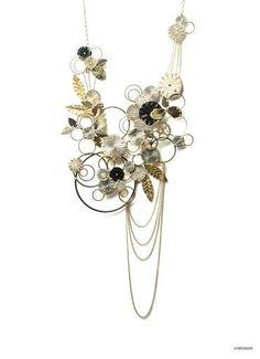 Collana argento dorato quadranti / designer Tomoko Tokuda / Yuriko gioielli Milano