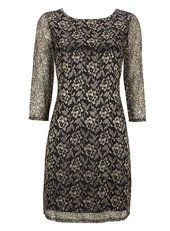 Petite Gold Lace Dress