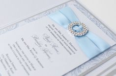 Bling & Satin Wedding Invitation in Luxe Dusk Blue and Silver - love the color and style of the blue ribbon on this! Silver Wedding Invitations, Sweet 16 Invitations, Invitation Ideas, Invites, Wedding Planning Inspiration, Wedding Ideas, Wedding Stuff, Sky Blue Weddings, Tiffany Theme