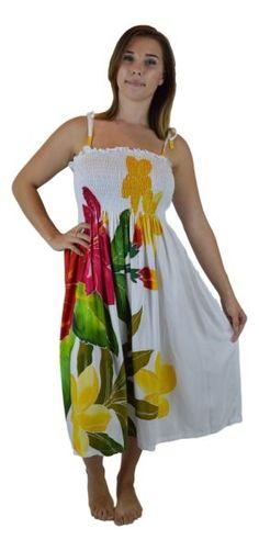 cc394beab0a8a Island Style - Handpainted Batik Elastic Dress in Hawaiian Hibiscus Style -  White