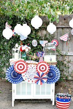 Fourth Of July Decor, 4th Of July Celebration, 4th Of July Decorations, 4th Of July Party, July 4th, Birthday Decorations, Patriotic Crafts, Patriotic Party, July Crafts